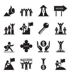 Business successful icons set vector