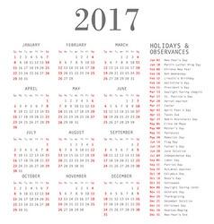 Calendar template for 2017 vector image