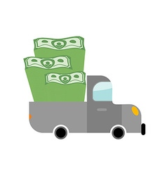 Car and money Pile of dollars in trunk of your vector image