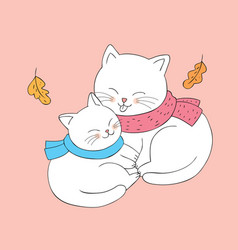 cartoon cute autumn cats hugging vector image
