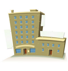 cartoon shop building with apartments and banners vector image