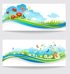 Cheerful summer banners vector