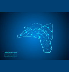 christmas island map with nodes linked by lines vector image