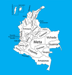 Colombia map with regions and provinces vector