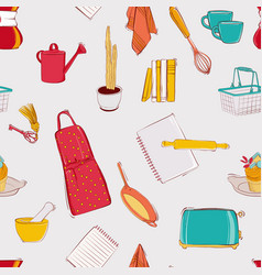 cooking kitchen seamless pattern set home decor vector image