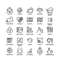 Creative design process linear icons vector