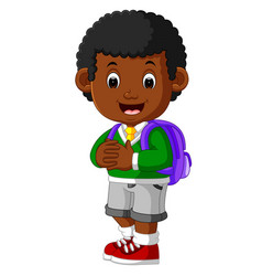 cute boy go to school cartoon vector image