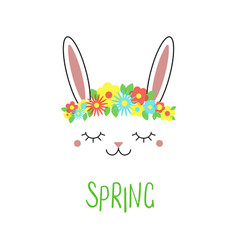 Cute bunny with flowers vector