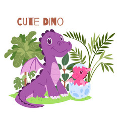 Cute dino family brontosaurus baby and parent vector