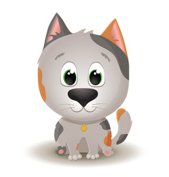 Cute white with spotted cat with big eyes in vector
