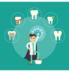Dental treatment banner with male dentist vector image