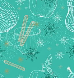 Doodle background with apple pear and snowflakes vector