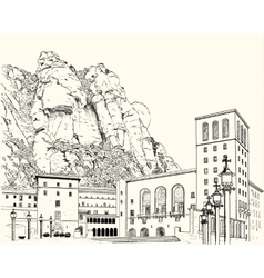 Drawing of Montserrat Monastery vector image