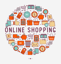 E-commerce shopping concept in circle vector