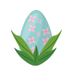 Easter egg with leaves decoration vector