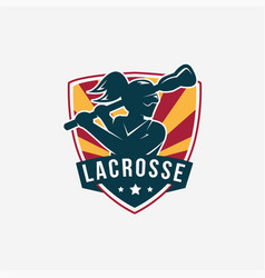 emblem seal badge lacrosse girl team logo vector image