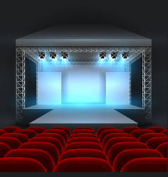 Empty theatre stage with spotlight lighting vector