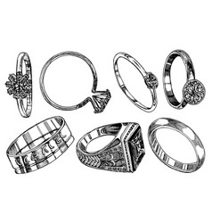 engagement rings women wedding jewelry vintage vector image