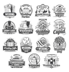 engagement wedding ceremony icons vector image