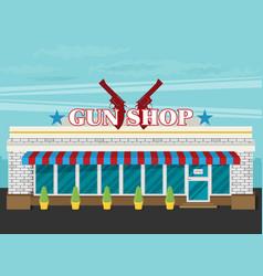 facade of gun shop flat vector image