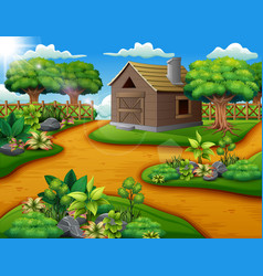 Farm landscape with shed and green plants vector