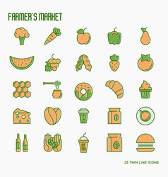 Farmers market thin line icons set vector