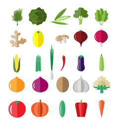 fresh and tasty vegetables icon set vector image