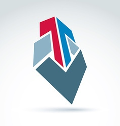 Geometric abstract 3D symbol with arrow graphic vector