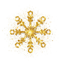 glitter golden snowflake on white background vector image