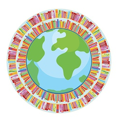 Globe and book education concept vector image