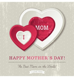 Grey background with two hearts for Mothers Day vector image