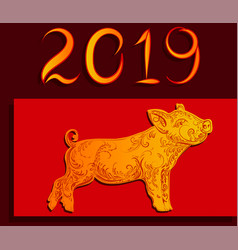 happy new year 2019 golden pig on a red vector image