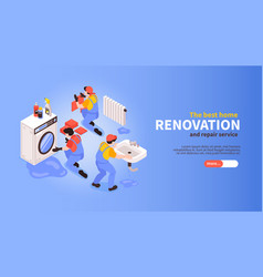 home renovation isometric banner vector image