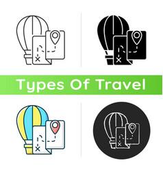 Hot air balloon tourism icon vector