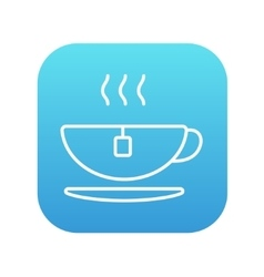 Hot tea in cup line icon vector image