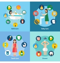 Hygiene 4 flat icons square composition vector