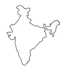 India map of black contour curves of vector