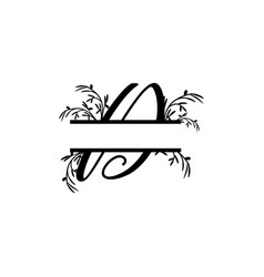 initial d decorative plant monogram split letter vector image