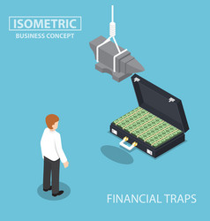 Isometric businessman looking to suitcase money vector