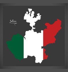 Jalisco map with mexican national flag vector