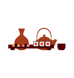 Japanese restaurant table setting sushi and tea vector