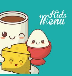 kids menu nutrition diet food vector image