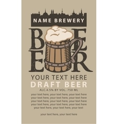 label beer with wooden glass vector image