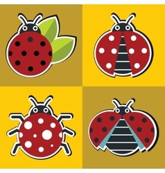Ladybug icons with shadow in flat style vector
