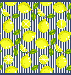 lemon with green leaves on striped background vector image