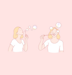 Making soap bubbles childish plaything vector