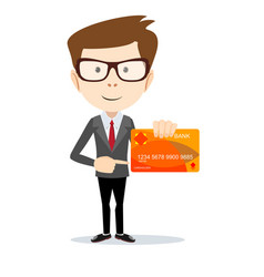 man in suit shows plastic card vector image
