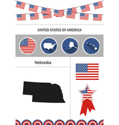 Map of nebraska set of flat design icons vector