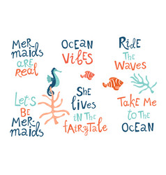 mermaid party hand drawn blue lettering set vector image