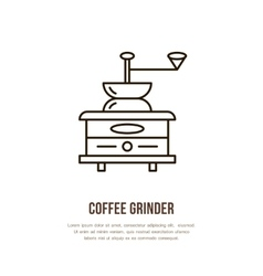 Modern line icon of coffee grinder Barista vector